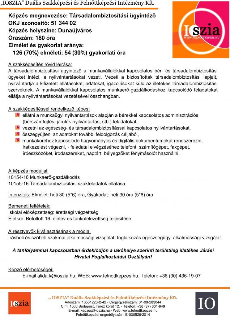 Társadalombiztosítási ügyintéző - Dunaújváros - IOSZIA felnőttképzés
